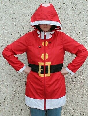 Christmas Novelty Santa Rain Jacket Size S 10-14