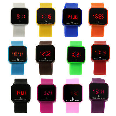 Unisex LED Digital Touch Screen Silicone Wrist Watch Q3W2