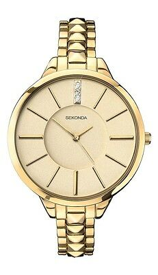 Sekonda Womens Quartz Watch with Beige Dial Analogue Display and Gold Stainless