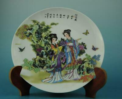 Chinese antique hand-made famille rose porcelain Hand painted belle plate b02