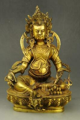 Chinese old fengshui copper hand-carved Yellow god of wealth Buddha statue e02