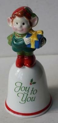 "Christmas Elf with Package ""Joy to You"" Bell-Porcelain-Napco Japan Vintage-CUTIE"