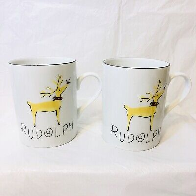 Set of 2 Pottery Barn REINDEER Rudolph Mugs 4641908
