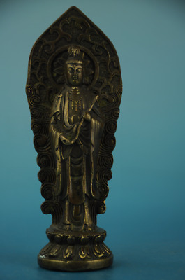 China old fengshui Copper hand-carved  KWAN-YIN Buddha Statue /qianlong mark d01