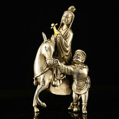 china old Copper plating silver hand-made gold drawing Wang Zhaojun statue e01C