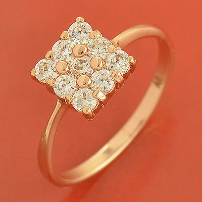 9K Rose Gold Filled Flawless Cubic Zirconia Ring,Size 6,7,8,9 Free Shipping