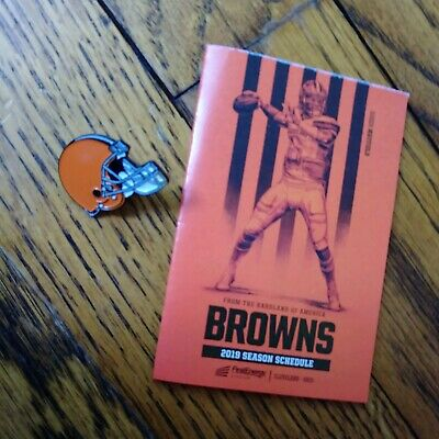 Cleveland Browns HELMET LAPEL PIN + 2019 Pocket Schedule NFL Dawg