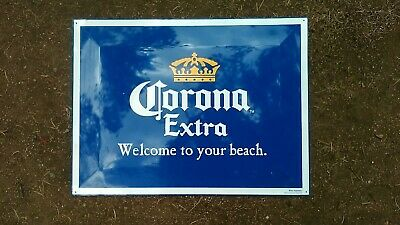 """Corona Extra Metal Beer Sign Blue """"Welcome to Your Beach"""" cervesa"""