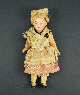 1880s Victorian Toy Doll Bisque Head Original Clothes - Holding Bisque Baby Doll