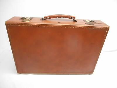 Old Vtg BROWN FAUX LEATHER WOOD BRIEFCASE ATTACHE CASE SUITCASE LUGGAGE Salesman