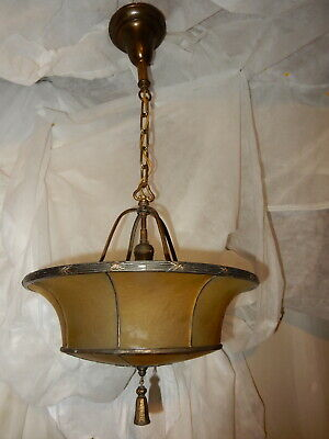 Leaded & Copper Foiled Arts & Crafts Ceiling Fixture w/ Amber Art Glass Shade