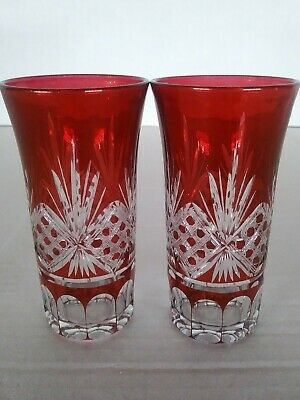 PAIR of Vintage BOHEMIAN Czech RUBY RED, Clear CUT CRYSTAL CORDIAL, SHOT GLASS