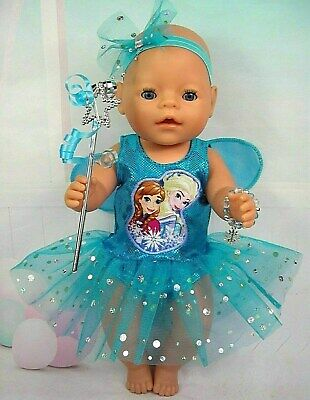 """Dolls clothes for 17"""" Baby Born doll~FROZEN SISTERS AQUA FAIRY DRESS~ACCESSORIES"""