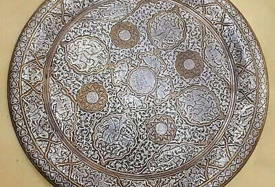 Rare Huge Antique Revival Silver Inlaid Brass Ottoman Cairoware Persian Tray