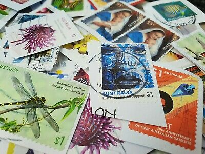 90+ Australian used ONLY 50c to + INCLUDING $1 STAMPS kiloware bulk FAST POST