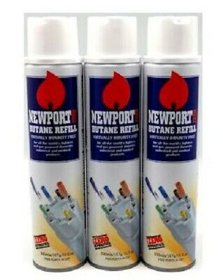 Newport Gas 300ml Universal Butane Gas Refill Lighter Blow Torch Fuel BBQ x 3