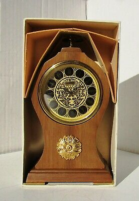 Lovely Timber Mantle Alarm Clock with Orate Face EUROPA 7 Jewels Original Box