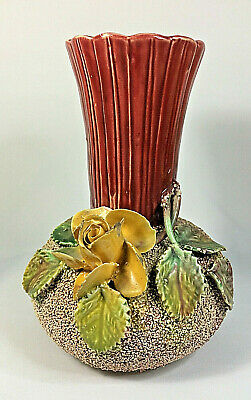 Antique Sand Majolica Pottery Vase Applied Flower
