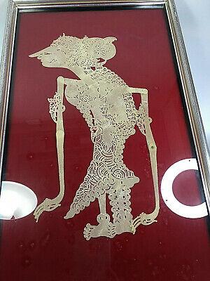 1900's Century Original Indonesian Buffalo Leather Shadow Puppet Wayang Framed