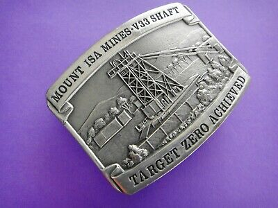Australian Fine Pewter Belt Buckle  MOUNT ISA  MINES - V33 SHAFT - TARGET ZERO