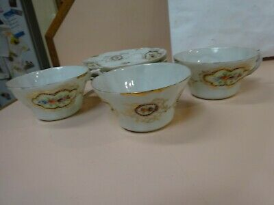 Antique Lustre style Handmade 3 cups and 5 saucers.Unbranded.Maybe German.