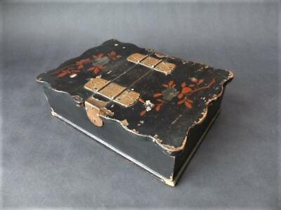 Antique Japanese Box, 19th c Black Lacquer, Twin Lidded Box