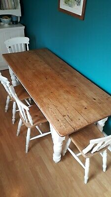 Rustic Antique Pine Table 4 Chairs Farmhouse  KItchen Dining Shabby Chic