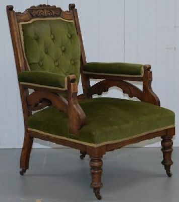 Reading / Library Chair - Victorian oak hand carved chesterfield antique