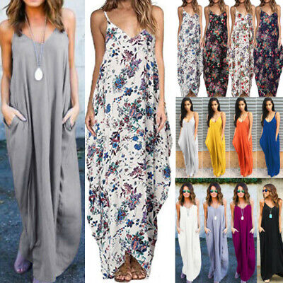 Women Sleeveless Strappy Loose Baggy Long Maxi Dress Summer Casual Beach Holiday