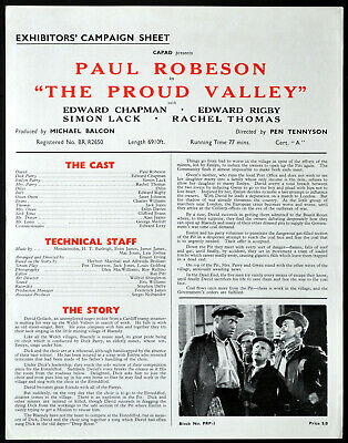 PROUD VALLEY 1939 Paul Robeson EALING STUDIOS Coal Mining CAMPAIGN SHEET