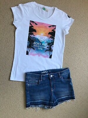 Girls Size 14 Denim Shorts, Frayed Hem (worn once) & Roxy White Print T.Shirt.GC
