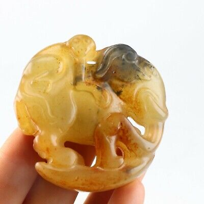 Chinese jade carving jade statue monkey and elephant 封侯拜相 B823