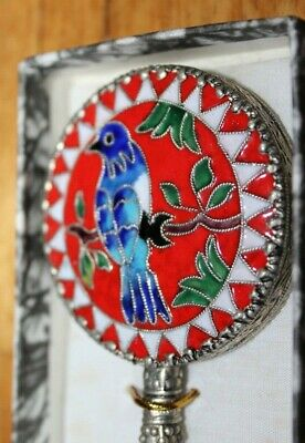 Beautiful Vintage Hand Mirror With Jade Handle & Enameled Blue Bird