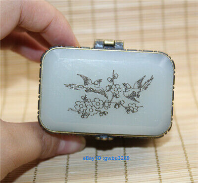 Collection Exquisite Chinese hand-carved Chicken bird inlaid Jade box