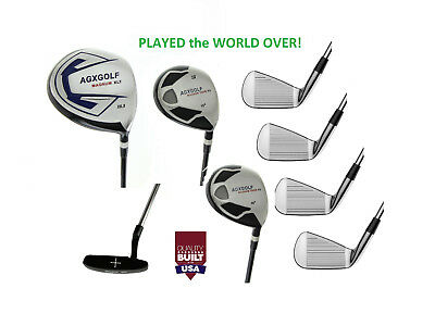 Agxgolf +1 Inch Tall Mens Exec Golf Club Set Driver+Woods+Irons+Stand Bag+Putter