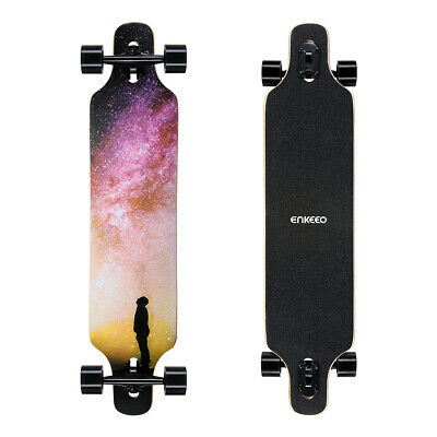 """Enkeeo Skateboard 9""""x 40""""Longboard complet Planche à roulettes Roues PU Outdoor"""