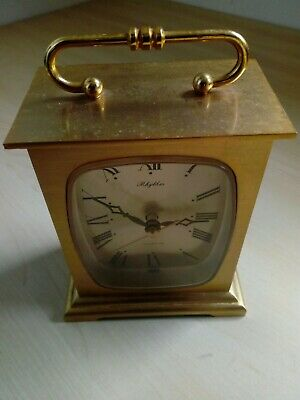 Vintage Rhythm Brass Carriage Clock Made In Japan Battery Operated