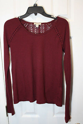 LUCKY BRAND Womens Size XS Top Long Sleeve Maroon Top FAST SHIP