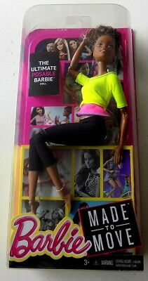 Barbie Made to Move Yellow Top African American Doll NRFB