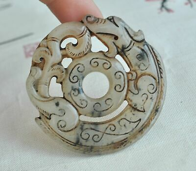 Chinese ancient old hard jade hand-carved pendant necklace ~Mythical Animal  M58