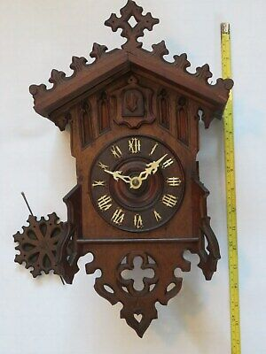 Small antique Gothic case cuckoo - bought as Beha - @ 1870/80.