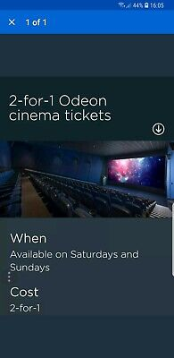 Odeon Cinema tickets 2 For 1 Online Code, Saturday 24/08/19 and Sunday 25/08/19