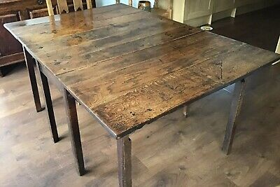 Antique, 1800's, Rare 9Plank, Rectangular Welsh Oak, Double Drop Leaf Table.