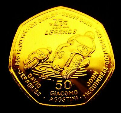 2015 Isle of Man TT Trophy Heros 50 Pence Coin 24k Gold Plated