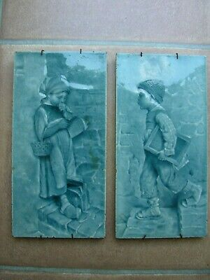 Pair Of Antique Craven Dunnill Shropshire Picture Tiles Boy And Girl