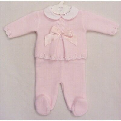 Newborn Baby Girl Deluxe Pink Spanish Knitted Bow Jumper & Leggings Set Outfit