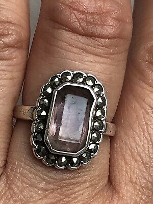 Art Deco Silver Mark Amethyst Marcasite Sterling Silver Ring ,UK Size N