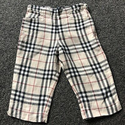 Burberry Girls Linen Nova Check 3/4 Length Trousers Immaculate Age 6