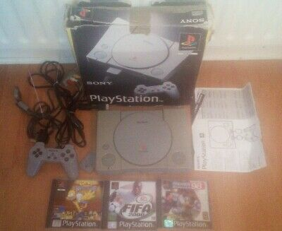 sony playstation 1 original console ps1 boxed with 3 games. Simpsons