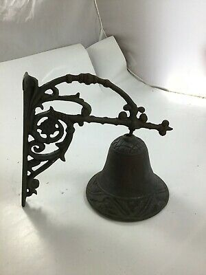 Antique Salvaged Cast Iron Wall Mount Bell ~ Indoor or Outdoor